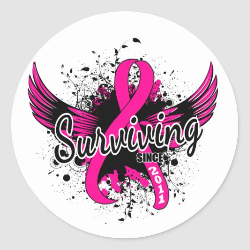 Breast Cancer Surviving Since 2011 Round Stickers
