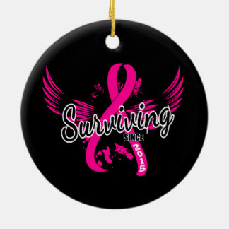 Breast Cancer Surviving Since 2015 Round Ceramic Decoration
