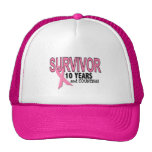 BREAST CANCER SURVIVOR 10 Years & Counting Mesh Hats
