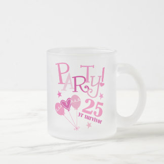 Breast Cancer Survivor 25 Year Frosted Glass Mug