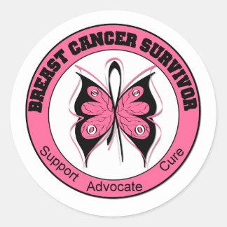 Breast Cancer Survivor Butterfly Round Sticker