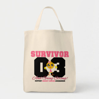 Breast Cancer Survivor Chick 03 Years Grocery Tote Bag