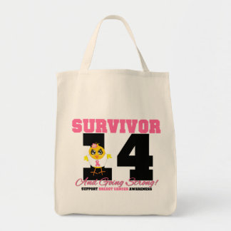 Breast Cancer Survivor Chick 14 Years Grocery Tote Bag
