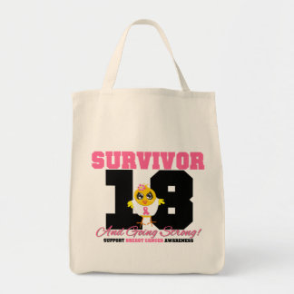 Breast Cancer Survivor Chick 18 Years Grocery Tote Bag