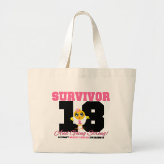 Breast Cancer Survivor Chick 18 Years Jumbo Tote Bag