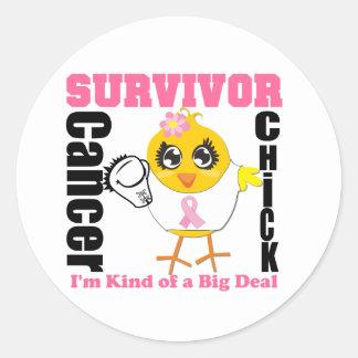 Breast Cancer Survivor Chick Ribbon Round Sticker