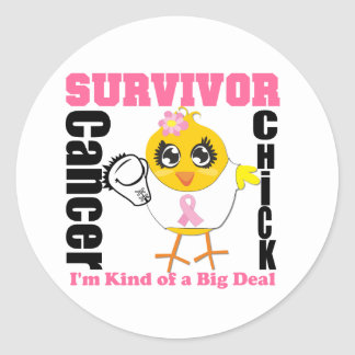 Breast Cancer Survivor Chick Ribbon Classic Round Sticker