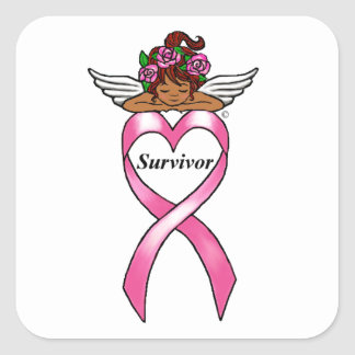 """Breast Cancer """"Survivor"""" Ethnic Angel Sticker"""