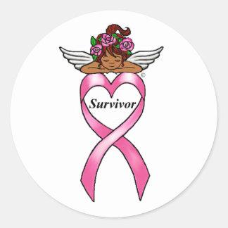 """Breast Cancer """"Survivor"""" Ethnic Angel Classic Round Sticker"""