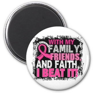 Breast Cancer Survivor Family Friends Faith 6 Cm Round Magnet