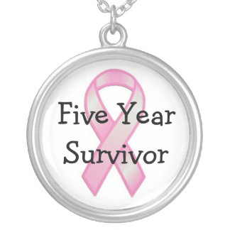 Breast Cancer Survivor Five Years Silver Plated Necklace