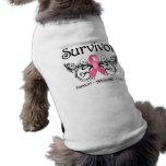 Breast Cancer Survivor Floral Deco Sleeveless Dog Shirt