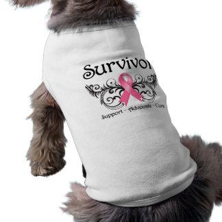 Breast Cancer Survivor Floral Deco Doggie T Shirt