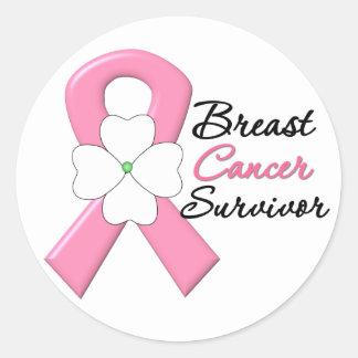 Breast Cancer Survivor Flower Ribbon Round Sticker