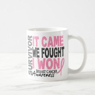 Breast Cancer Survivor It Came We Fought I Won Basic White Mug