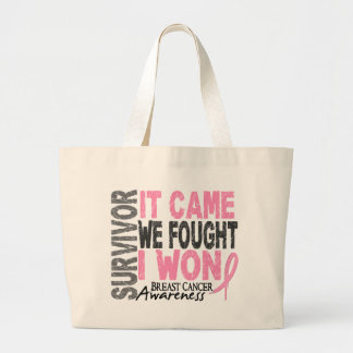 Breast Cancer Survivor It Came We Fought I Won Jumbo Tote Bag