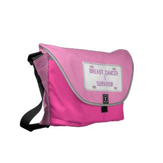Breast Cancer Survivor License Plate Messenger Bag