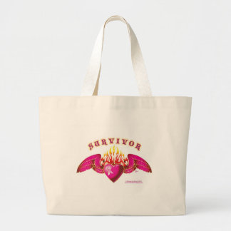 Breast Cancer Survivor Logo Tote Bags