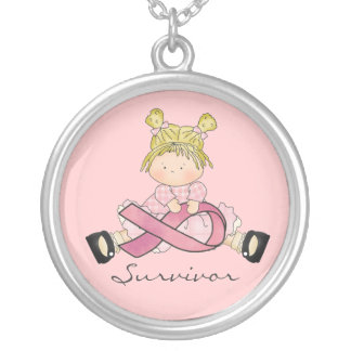 Breast cancer survivor necklace pink ribbon