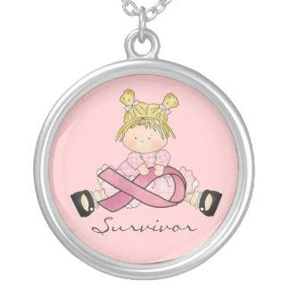 Breast cancer survivor necklace pink ribbon