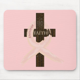 Breast Cancer Survivor Pink Ribbon-Cross of Faith Mouse Mat