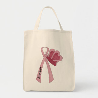 Breast cancer survivor pink ribbon tote grocery tote bag