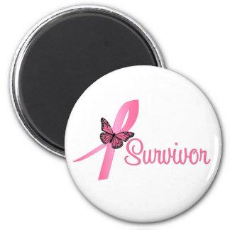 Breast Cancer Survivor Ribbon 6 Cm Round Magnet