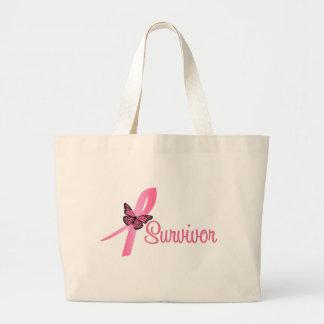 Breast Cancer Survivor Ribbon Jumbo Tote Bag