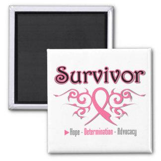 Breast Cancer Survivor Tribal Ribbon Square Magnet
