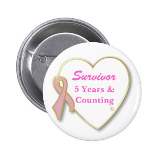 Breast Cancer Survivor-- Years & Counting 6 Cm Round Badge