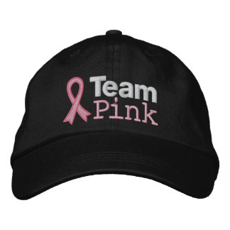 Breast Cancer Team Pink Embroidered Hat