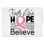 Breast Cancer Typographic Faith Love Hope Greeting Card