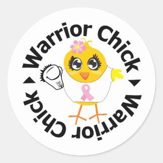 Breast Cancer Warrior Chick Round Stickers