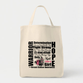 Breast Cancer Warrior Fight Slogans Tote Bag