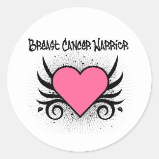 Breast Cancer Warrior Heart Round Sticker