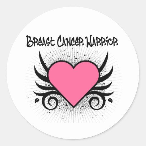 Breast Cancer Warrior Heart Stickers