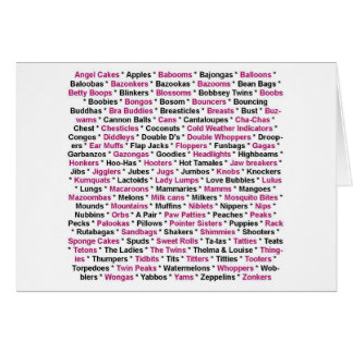 Breast Cancer - Words for Boobs Note Card