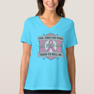 Breast Cancer Yes They're Fake (Sporty) T-Shirt