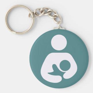 Breastfeeding Icon - Mauve Basic Round Button Key Ring