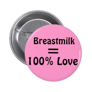 Breastmilk = 100% Love 6 Cm Round Badge