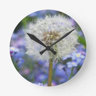 Breath flowers dream in blue forget-me-not blooms round clock