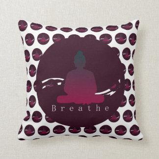 """Breathe"" Beautiful Buddha cushion. Throw Pillow"