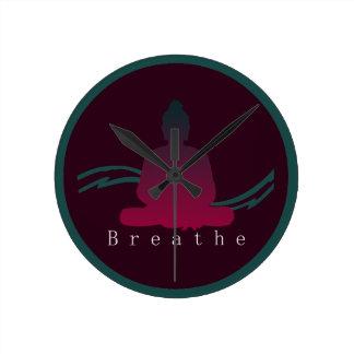 """Breathe"" Beautiful Buddha. Round Clock"