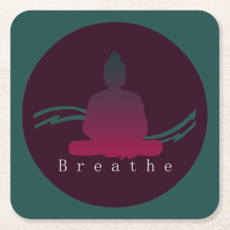 """Breathe"" Beautiful Buddha. Square Paper Coaster"