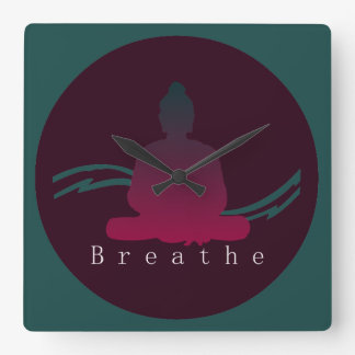 """Breathe"" Beautiful Buddha. Square Wall Clock"