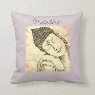 Breathe Buddha Watercolor Art Pillow