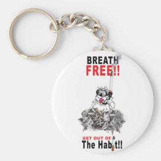Breathe Free - STOP SMOKING Basic Round Button Key Ring