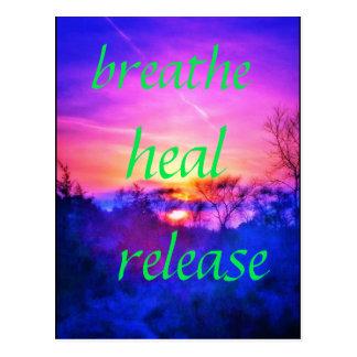 breathe heal pink sunset postcard
