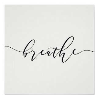 Breathe Meditation Yoga Minimalistic Poster