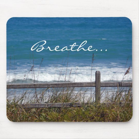 Breathe-Ocean Waves View through fence. Mouse Mat